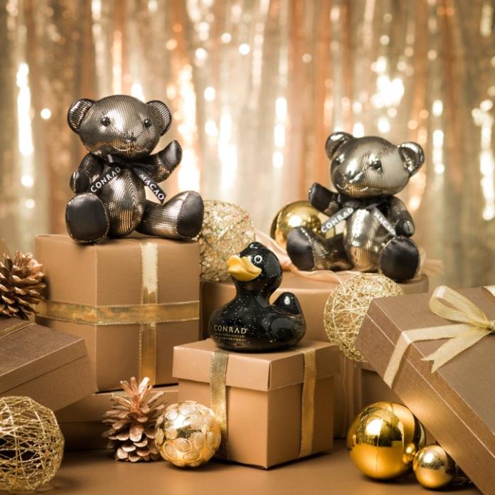 Christmas edition stylish black and gold bespoke Conrad Bear